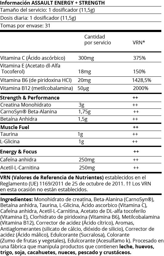 FICHA NUTRICIONAL ASSAULT ENERGY + STREMCH - 345G