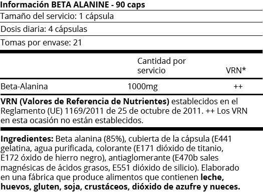 FICHA NUTRICIONAL BETA ALANINE - 90 CAPS