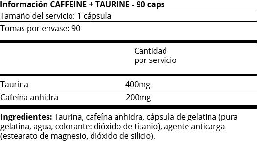 FICHA NUTRICIONAL CAFFEINE + TAURINE - 90 CAPS