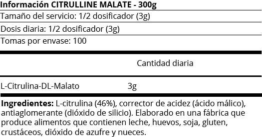 FICHA NUTRICIONAL CITRULLINE MALATE - 300G