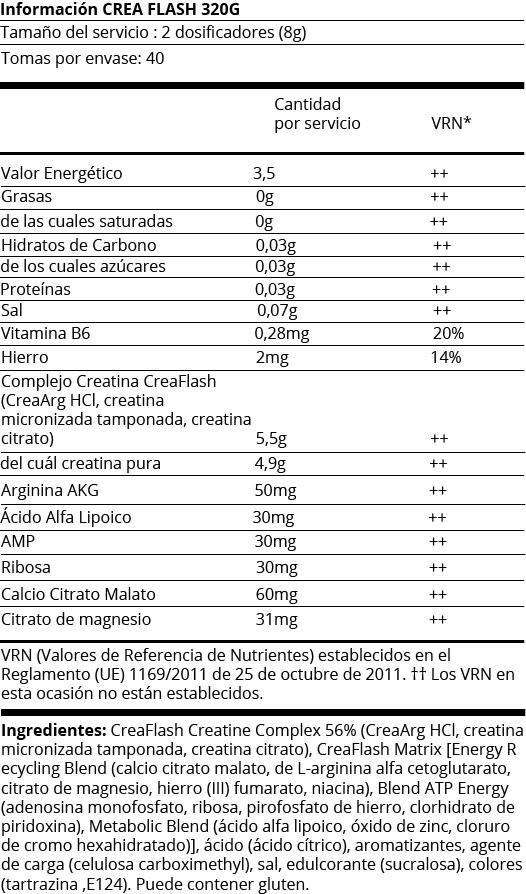 FICHA NUTRICIONAL CREA FLASH - 320G NARANJA