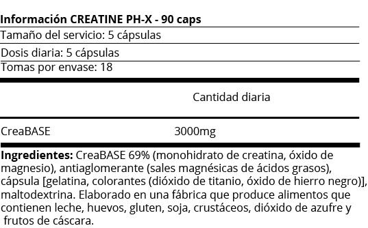 FICHA NUTRICIONAL CRATINE PH-X 210 CAPS