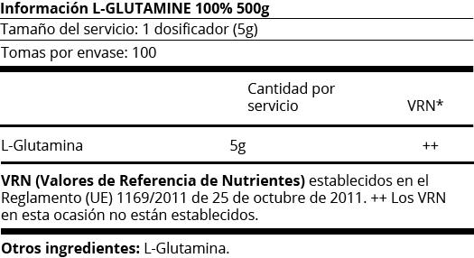 FICHA NUTRICIONAL L-GLUTAMINA 100%  -500G