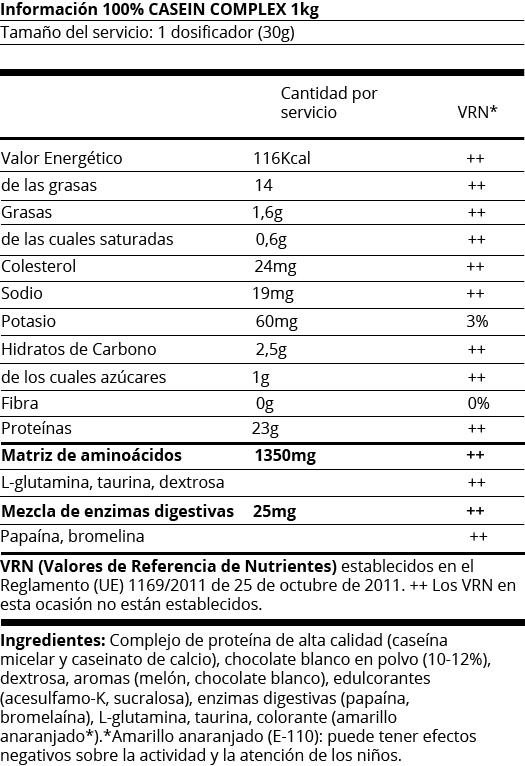 FICHA NUTRICIONAL 100%CASEIN COMPLEX - 1KG