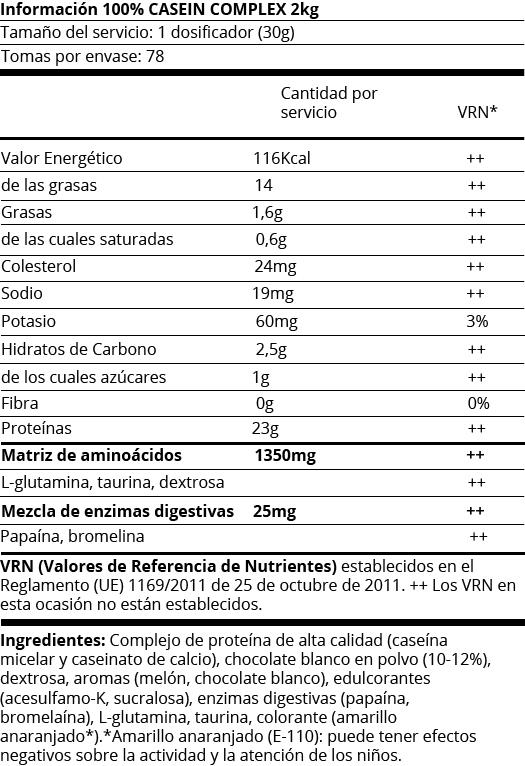 FICHA NUTRICIONAL 100% CASEIN COMPLEX - 2KG