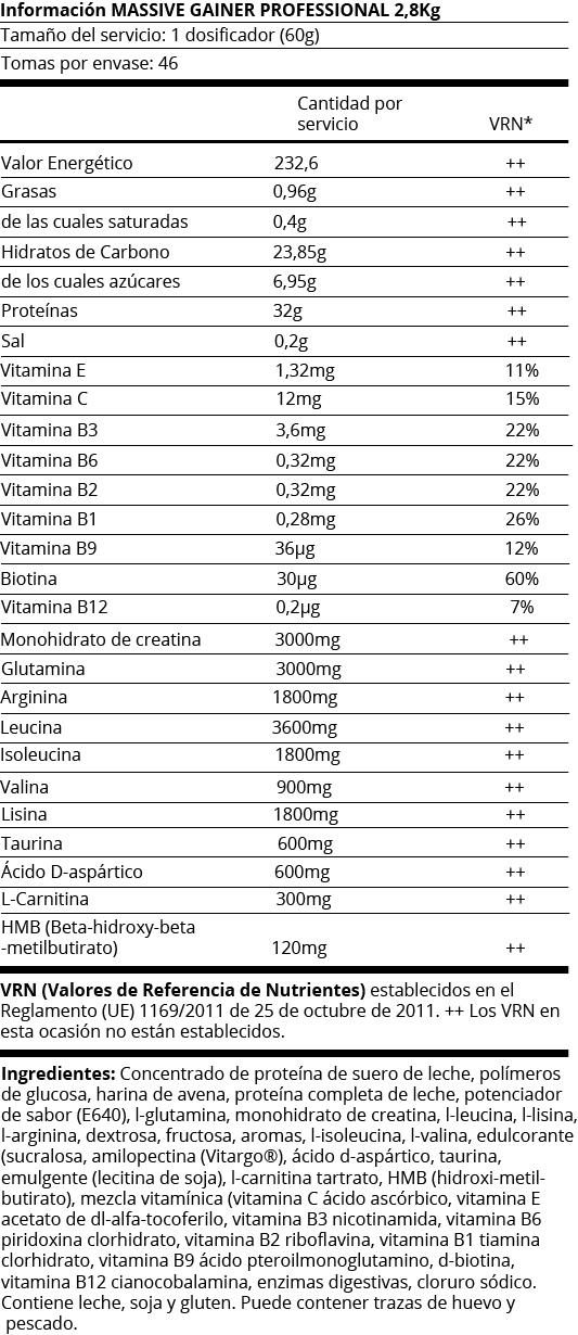 FICHA NUTRICIONAL MASIVE GAINER PROFESSIONAL - 2.8KG