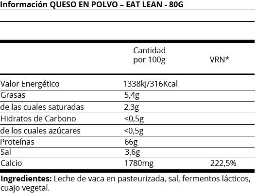 FICHA NUTRICIONAL QUESO EN POLVO - EAT LEAN - 80G