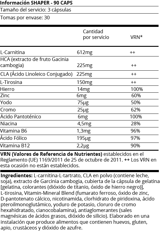 FICHA NUTRICIONAL ULISSES SHAPER - 90CAPS