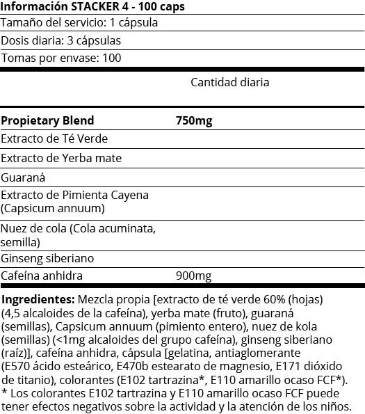FICHA NUTRICIONAL STACKER 4 - 100 CAPS