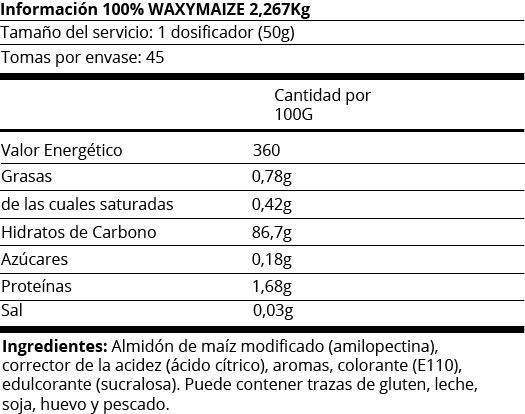 FICHA NUTRICIONAL  100% WAXY MAIZE - 5LB